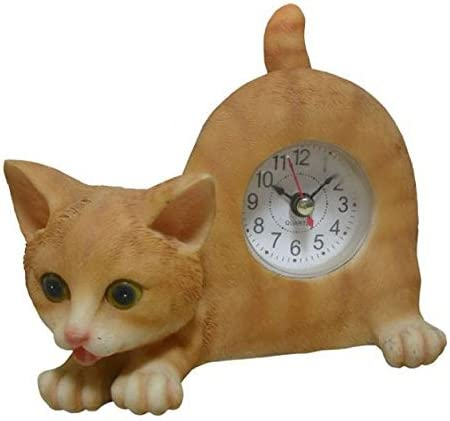 AIE GF65 Small Orange Tabby Cat Desk Clock with Wagging Tail
