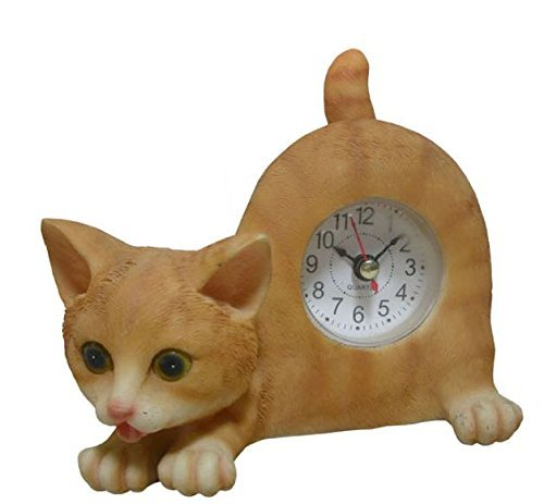 Wagging Table Clock - AIE GF65 Small Orange Tabby Cat Desk Clock with Wagging Tail