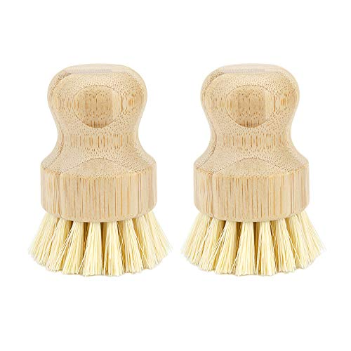 WISH Natural Cleaning Scrub Brush for Cast Iron Skillet Pots Pans - Made of 100% Bamboo Handle and Coconut Bristles (2 Pack)