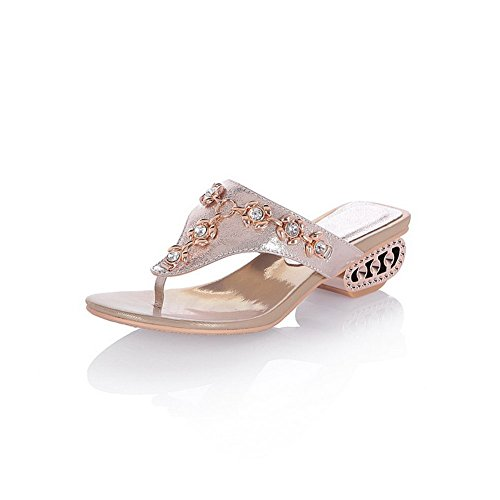 BalaMasa Girls Split-Toe Glass Diamond Gold Soft Material Slippers - 5 B(M) (Glass Slipper Shoes Retail)