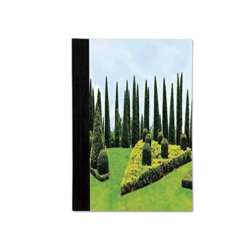 Country Home Decor Stylish Notebooks,Classic Formal Designed Garden With Evergreen Shrubs Boxwood Topiaries for School Office,One size