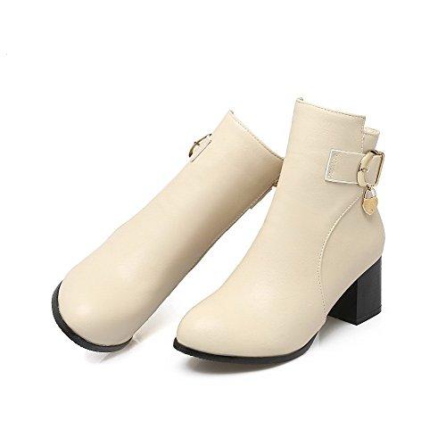 AmoonyFashion Round Toe Solid Kitten Low Heels Closed Zipper Women's top Beige Boots rxwrngOYZq