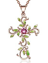 "Angelady""God We Trust""Cross Pendant Necklace Jewelry Gift for Women,Crystal from Swarovski"