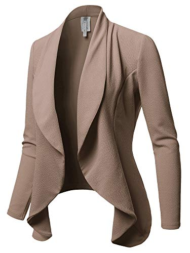 Awesome21 Solid Formal Office Style Open Front Blazer - Made in USA Mocha (Blazer Style Jacket)