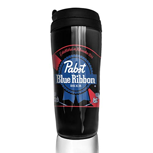 Coffee Mugs, Pabst Blue Ribbon Beer Logo, Decaf Mountain Outdoor Coffee Mug Reusable Plastic Curve Travel Mug for Women Men