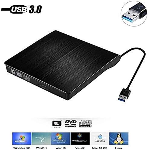 KJRJFD USB 3.0 CD DVDドライブ、MacBookの、ラップトップ、デスクトップ、Windowsの7月8日/ 10 / XP/Vistaの/Mac OS用のポータブルスリムCD DVD +/- RWドライブプレーヤーライターリーダーライタ