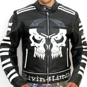 Gr/ö/ße XXS Schwarz 4LIMIT Sports Livin4limit Motorradjacke Leder Crossbones Biker Motorrad Jacke Lederjacke