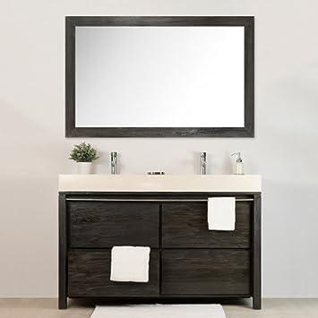 Salle de Bain en Teck Sirocco Double Grey et Son Miroir: Amazon.fr ...