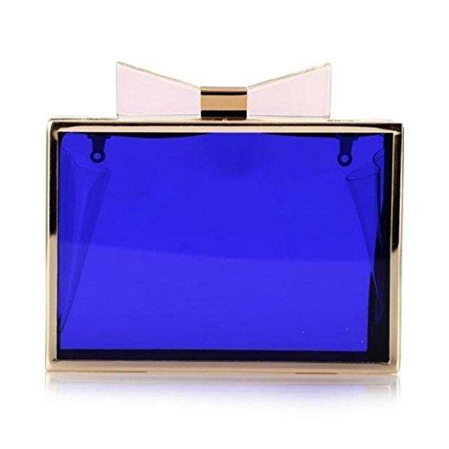 Dîner Main Womens Robe Noeud Papillon Transparent Blue Sac Bags De à Soirée Clutch Paquet FFYqBw8