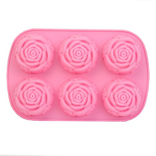 Wrisky New Silicone Ice Cube Candy Chocolate Cake Cookie Cupcake Soap Molds Mould DIY (6-Rose) (Halloween Decoration Ideas For Cupcakes)