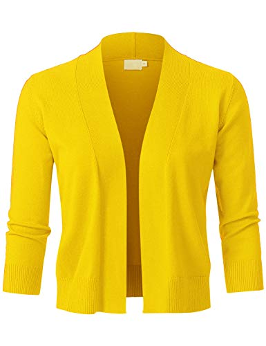 (JSCEND Womens Classic 3/4 Sleeve Open Front Cropped Bolero Cardigan Yellow-B M)