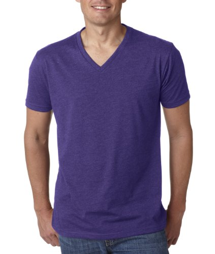 Next Level Mens 60% Cotton / 40% Polyester CVC V-Neck Tee - Purple Rush - XL (V-neck Cvc Tee)
