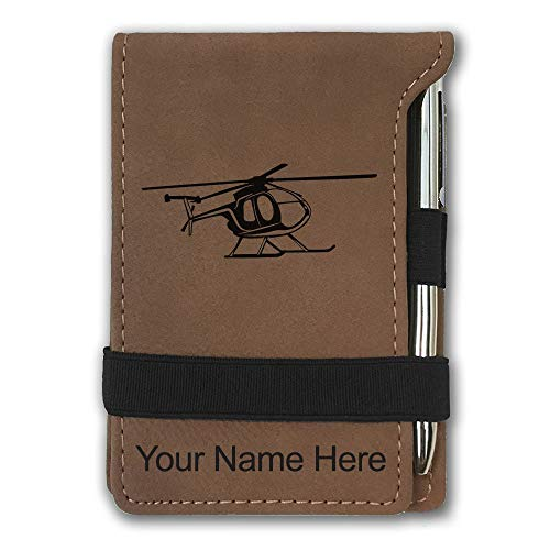 (Mini Notepad, Helicopter 1, Personalized Engraving Included (Dark Brown))