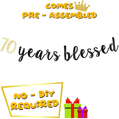 70s Themed Cake Ideas (70th Happy Birthday Banner 70 Years Blessed Anniversary Seventy Fabulous Birthday Party Decoration Ideas Gift Cursive)