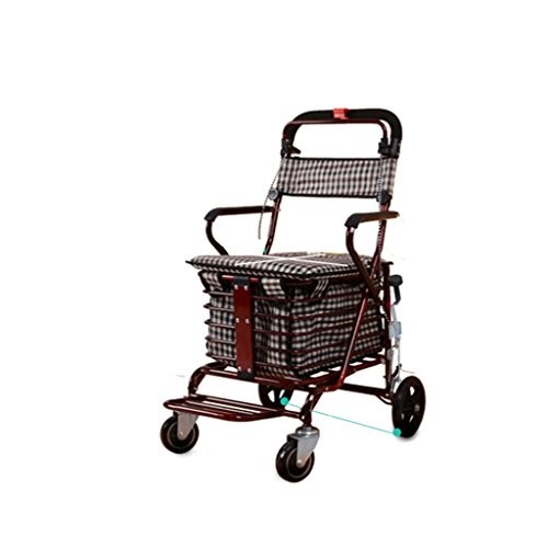 (RKY Old Man Trolley Shopping Cart Old Man Unicycle Can Push Can Sit Folding Walker Four Shopping Scooter Multi-function trolley (Color : Bronze))