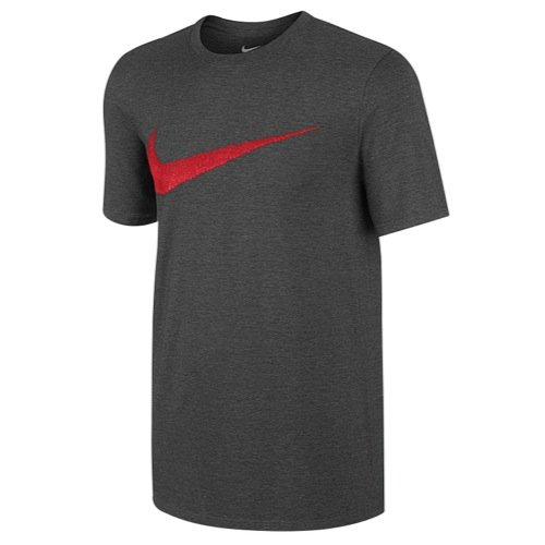 NIKE MENS TEE HANGTAG SWOOSH CHARCOAL HEATHR UNIVERSITY RED SIZE XX
