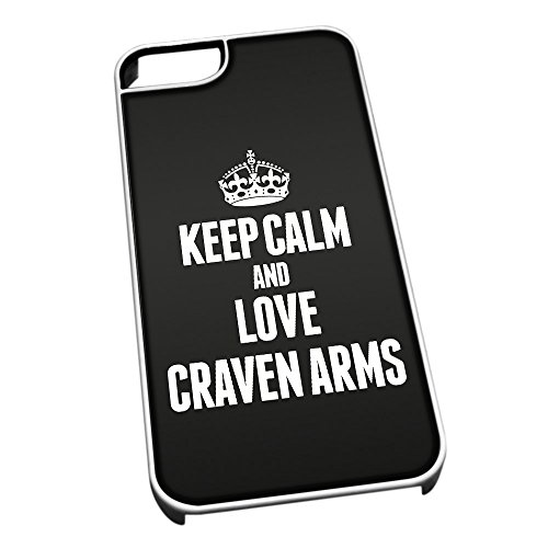Bianco cover per iPhone 5/5S 0180 nero Keep Calm and Love Craven Arms