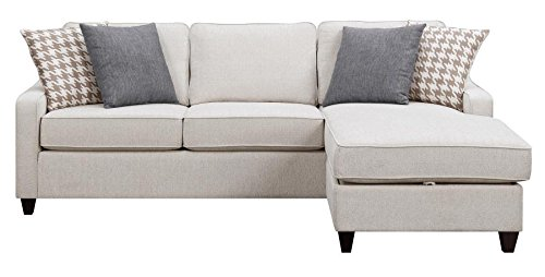 Montgomery Sectional Sofa with Track Arms and Chaise Cream