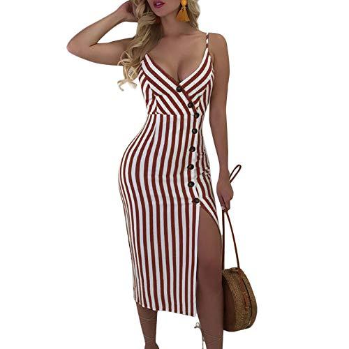 Joteisy Women's Sleeveless Spaghetti Strap V Neck Button Down Backless Tie up Stripe Sexy Bodycon Midi Dress (L, Wine Red)