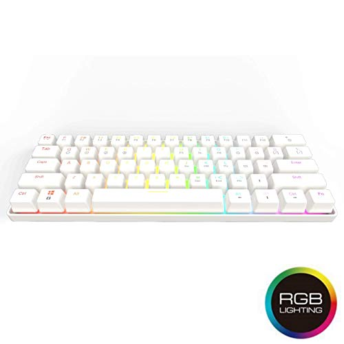GK61 Hot Swappable Mechanical Gaming Keyboard – 61 Keys Multi Color RGB Illuminated LED Backlit Wired Gaming Keyboard, Waterproof Programmable, for PC/Mac Gamer, Typist (Gateron Optical Blue, White)