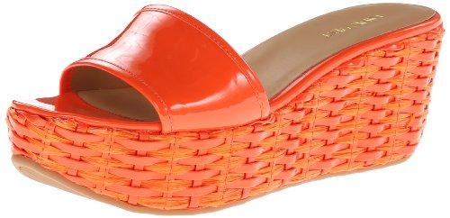Nine West Women's Rithanne Wedge Sandal,Orange,7.5 M US