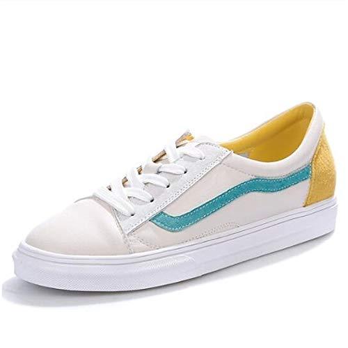 ZHZNVX Zapatos de Mujer de Piel de Vaca Primavera/Verano Comfort Sneakers Flat Heel Cerrado Dedo del pie Amarillo/Azul Yellow