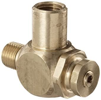 """Parker 032510250 3251 Series Brass Right Angle Flow Control Valves, 1/4"""" NPT Male x Female, 125 psi"""