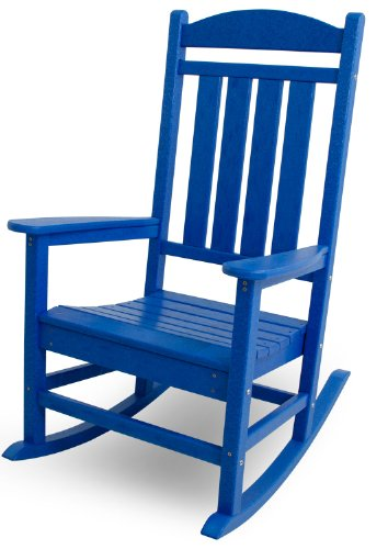 Recycled Plastic Slat (POLYWOOD R100PB Presidential Rocker, Pacific Blue)
