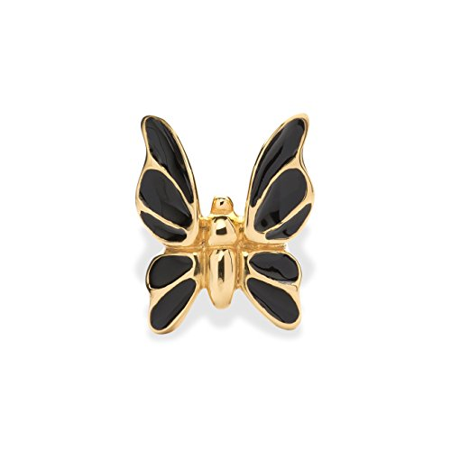 Fashion Jewelry Women's Statement Rings by Eleonora Varini - Unique Handmade Italian Design Jewels - Beautiful, Bold and Trendy Bronze 24k Gold and Rhodium Plating (Black & Gold Butterfly, (Black Butterfly Ring)