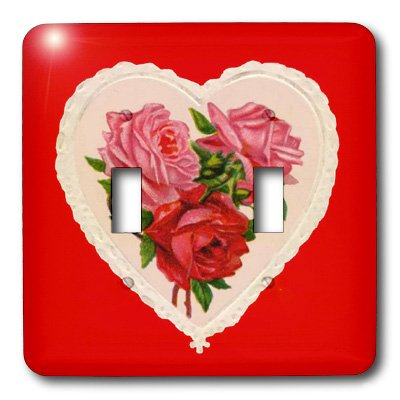 3dRose lsp_8077_2 Vintage Heart with Red And Pink Roses Double Toggle Switch ()