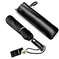 Tinams Windproof Umbrella, Black Automatic Folding 10 Ribs Travel Umbrella with Teflon Coating,Free Leather Cover