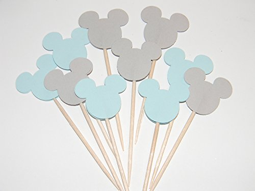 24 Gray and Baby Blue Mickey Mouse inspired cupcake toppers food picks birthday party décor shower supplies]()