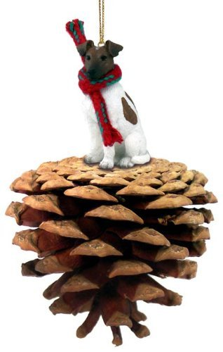 Brown & White Fox Terrier Pinecone Christmas Ornament ()