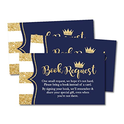 25 Prince Books for Baby Request Insert Card for Boy Baby Shower Invitations or invites, Navy Gold Castle On His Way Cute Bring A Book Instead of A Card Theme for Gender Party Story Games -