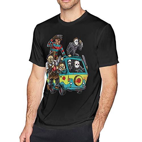 (Hodenr Mens Fashion Abbey Road Killer Freddy Horror Movie The Massacre Machine T-Shirt 6XL)