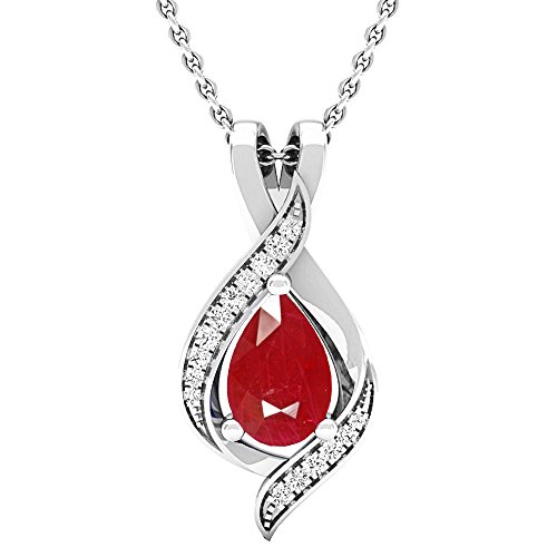 14K White Gold Pear 9X6 MM Lab Created Ruby & Round Diamond Ladies Pendant ()