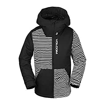Volcom Boys' Big Vernon Insulated 2 Layer Shell Snow Jacket, Black Stripe, Extra Small