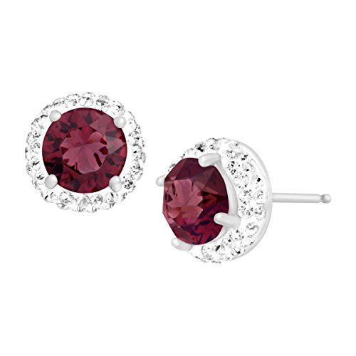 Crystaluxe Sterling Silver January Stud Earrings with Burgundy Swarovski Crystals