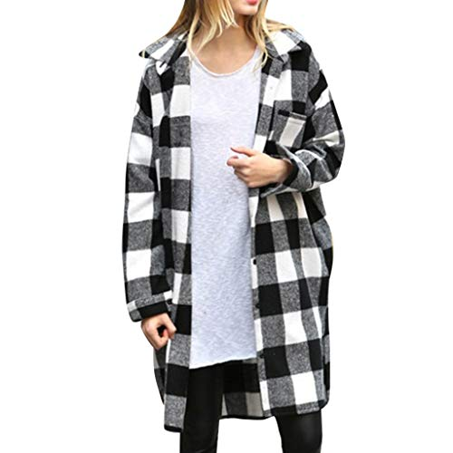 Womens Long Sleeve Plaid Loose Shirt Tops Jacket with Buttons Lightweight Sherpa Lapel Vintage Loose Shirt Tops (Black, XL)