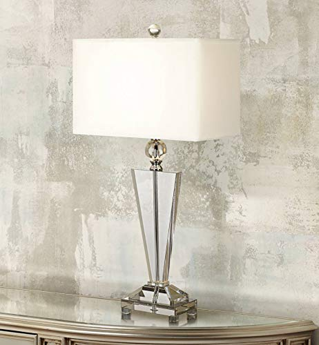 Modern Table Lamp Art Deco Crystal Trophy Off White Rectangular Shade for Living Room Family Bedroom Bedside - Vienna Full Spectrum