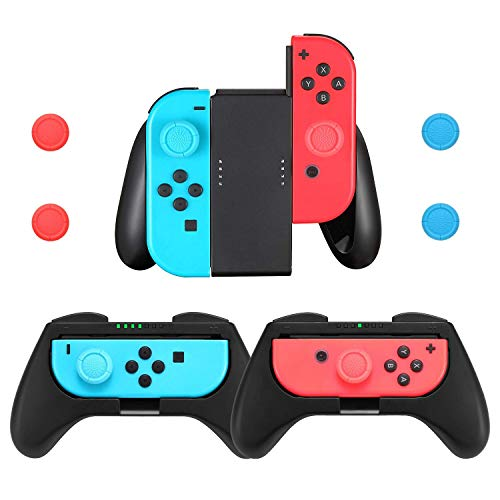 Comfort Grips Compatible with Nintendo Switch Joy-Con Controller (3-Pack), Handle Grips Kit for Joy Con with 4 Thumb Grip Caps (Resin Is Made From What)