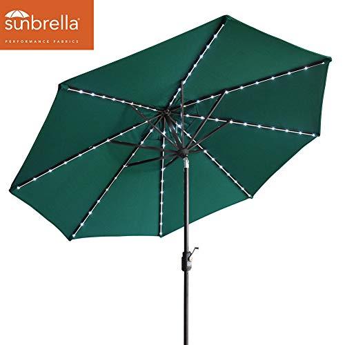 (EliteShade Solar Umbrellas Sunbrella 9ft Market Umbrella with 80 LED Lights Patio Umbrellas Outdoor Table Umbrella with Ventilation (Sunbrella LED Forest Green))