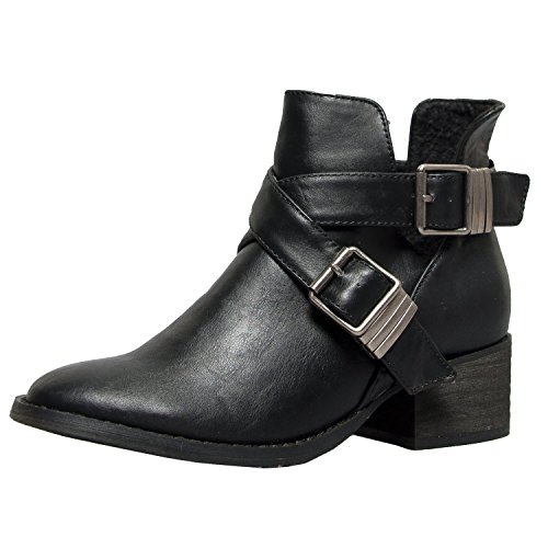 Breckelles Womens Bronco-11 Bootie Boots, Black, (Black Buckle Boots)