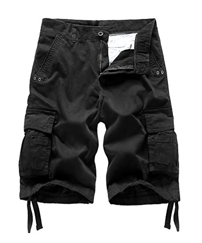 MADHERO Mens Cotton Twill Relaxed Fit Cargo Shorts Color Black Size 32 ()