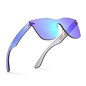 2020VentiVenti Vintage Retro Sunglasses for Cool Men Women Square Mirror Lens Rimless Frame 56mm UV400 Protection with Sun Glasses Case PC1601C03 (Blue,Revo)