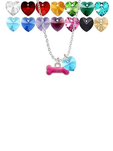 (Hot Pink Glitter Dog Bone Custom Crystal Heart Sophia Necklace, 18