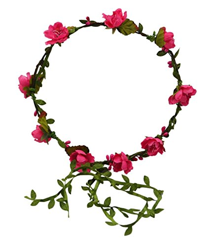 Floral Fall Beach Flower Crown Hair Wearth Headbands with Lovely Tail F-02