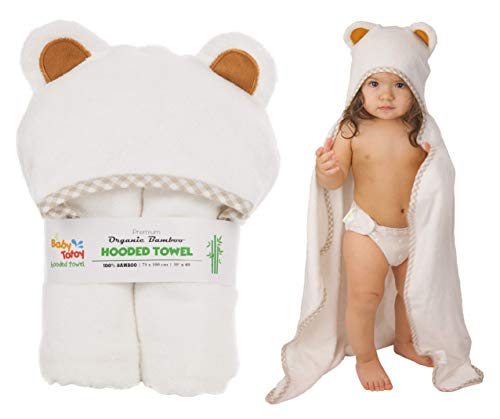 Hooded Baby Towel and Washcloth Set by Baby Totoy - Large Organic Bamboo Baby Towel with Hood - Unisex Baby Bath Towel - Baby Bath Set for Baby Registry Items - Premium Baby and Toddler Bath Towel