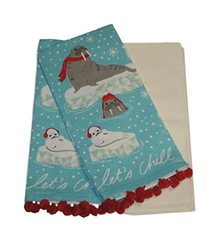 Let's Chill Seal Walrus Cotton Dish Towels and Flour Sack Kitchen Set 3 Piece - Towel 3 Kitchen Tea Piece