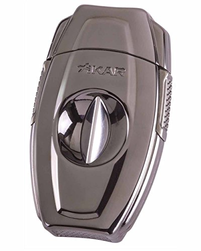 VX2 V Cut Metal Cigar Cutter in an Attractive Gift Box Gunmetal